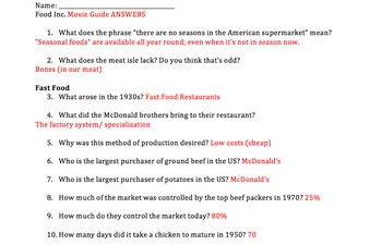 food inc video guide answers